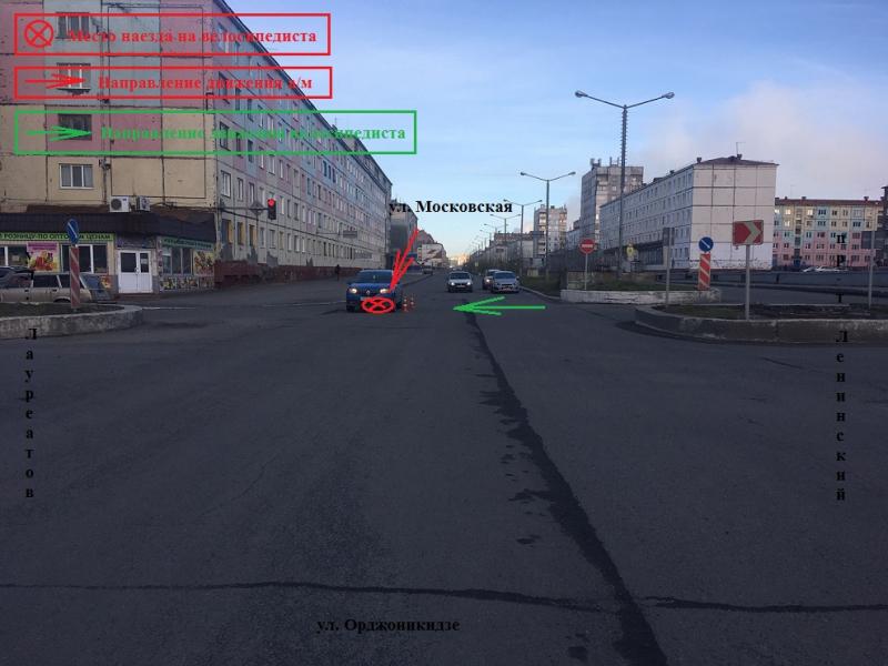 Вчера на ул. Талнахской сбили 10-летнего велосипедиста