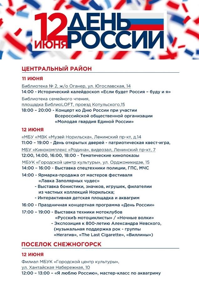 Норильские учреждения культуры приглашают горожан отметить День России вместе