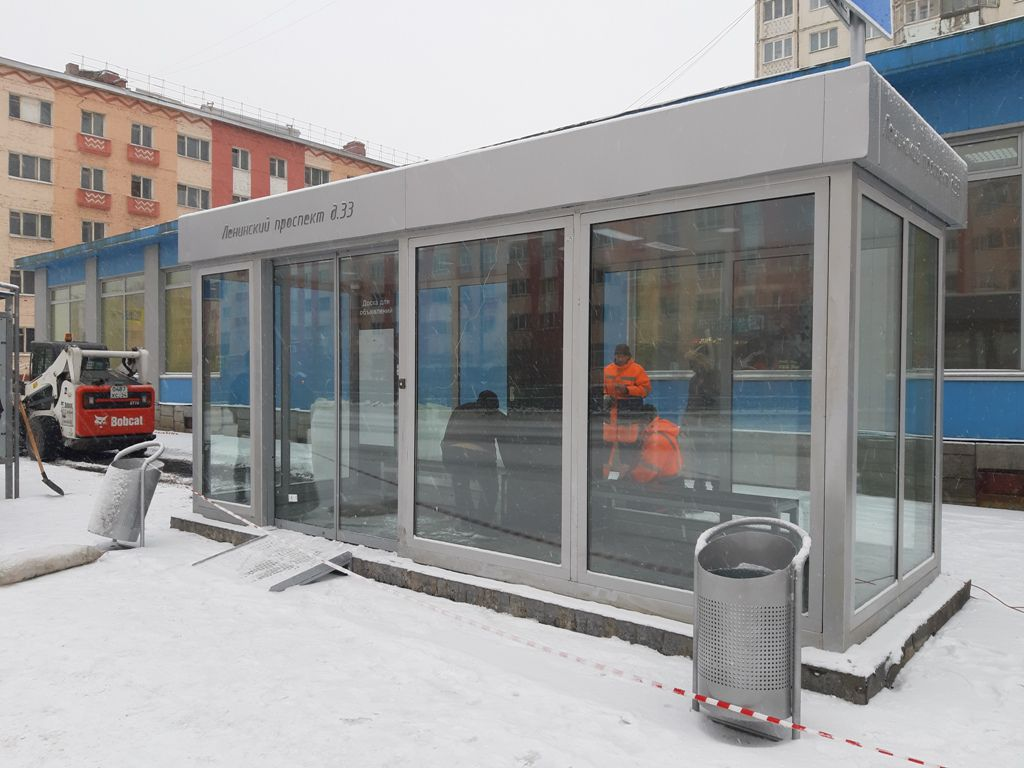 В Норильске завершён монтаж тёплых остановок.